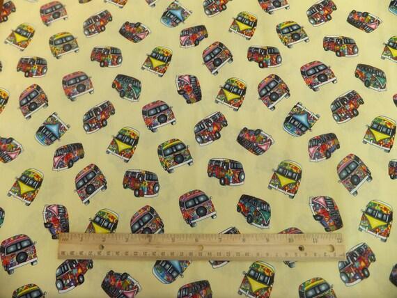 VW Campervan Fabric 100% Cotton Poplin Print PER METRE Lemon