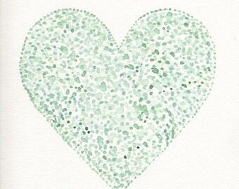 Nursery wall art, nursery heart, watercolor heart, nursery decor, nursery heart, blue heart, teal nursery decor, boy nursery ideas