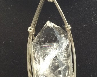 Quartz Crystal Sterling Wire Wrapped Pendant - E4