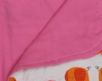 Pink Elephant Baby Girl Receiving Blanket