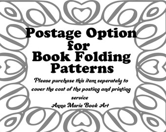 UK First Class Postage for All Book Folding Patterns - Please purchase seperately to your pattern - Please read Listing for more details