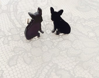 French Bulldog Stud Earrings, Frenchie Jewellery gift for dog lover.
