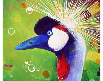 "SALE - Crowned Crane - Original colorful traditional painting paper acrylic 8.5""x11"""
