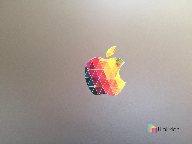Apple Rainbow Logo Sticker on Old Apple Rainbow Logo