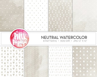 Digital Paper Patterns | Neutral Watercolor | 12 x 12 inches