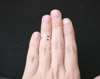 Adjustable midi ring. Sterling silver above the knuckle ring, reversible ring. Stacking ring. Hammered halfway, fingertip ring. Silver band