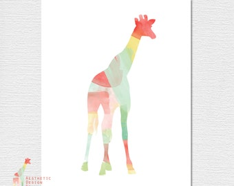 Watercolor Giraffe PDF Poster Download