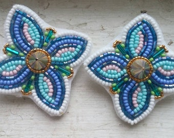 "Handmade Beaded Floral earrings with glass seed beads, 2"" x 2"" MADE TO ORDER! Spring summer accessory , flowers , spikes , stud , studded ,"