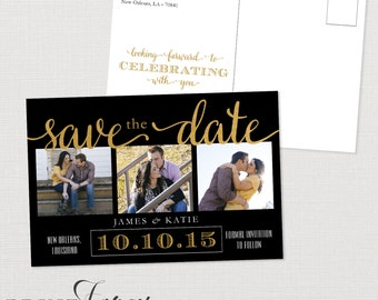 Black, White and Gold Save the Date Postcard - Printable PDF