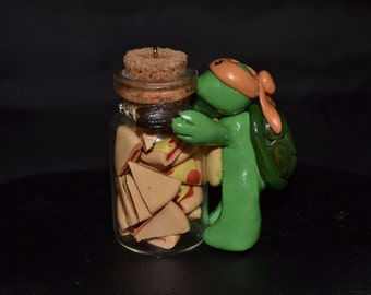 Ninja Turtle  - Stocking Stuffer TURTLE TOT MICHELANGELO W / Pizza - Polymer Clay Key Chain/Pendant **Free Shipping**
