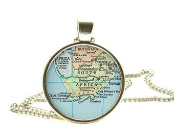 South Africa map necklace, South Africa map pendant, map jewellery, South Africa pendant