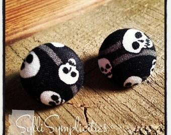 Black & White skulls fabric button earrings