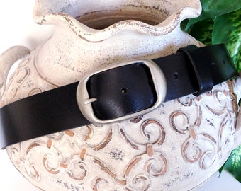 "Full Grain Black Leather Belt Strap, Antique Silver Buckle, Supple Leather Snap-on Belt Strap 1-1/2"",vintage style quality leather belt 1.5"""