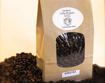 "1 lb (one pound bag) Sumatra Fresh Roasted Coffee, Whole or Ground Beans, Full City to French Roast,, ""Caffeine Me Now"""