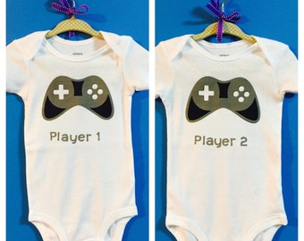 Player 1 and Player 2 Gamer Twin/ Sibling Onesie/ Tee Shirt Set