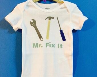 Mr. Fix It Daddy's Little Baby Boy Clever Onesie Bodysuit Yourh Toddler Tee Shirt