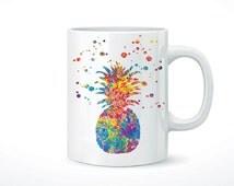 Pineapple Mug 11 oz, coffee, tea, Fruits and Vegetables mug, home gift, kitchen art, drinkware mugs, printed on both sides [NO 13]