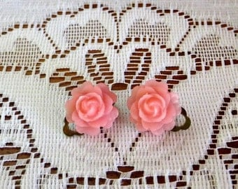 Sale 15% - Clip-on earrings, pink flowers, pink roses, rose, 15mm, lucite flower, pink, on sale, gift idea, gift for her, clip-ons
