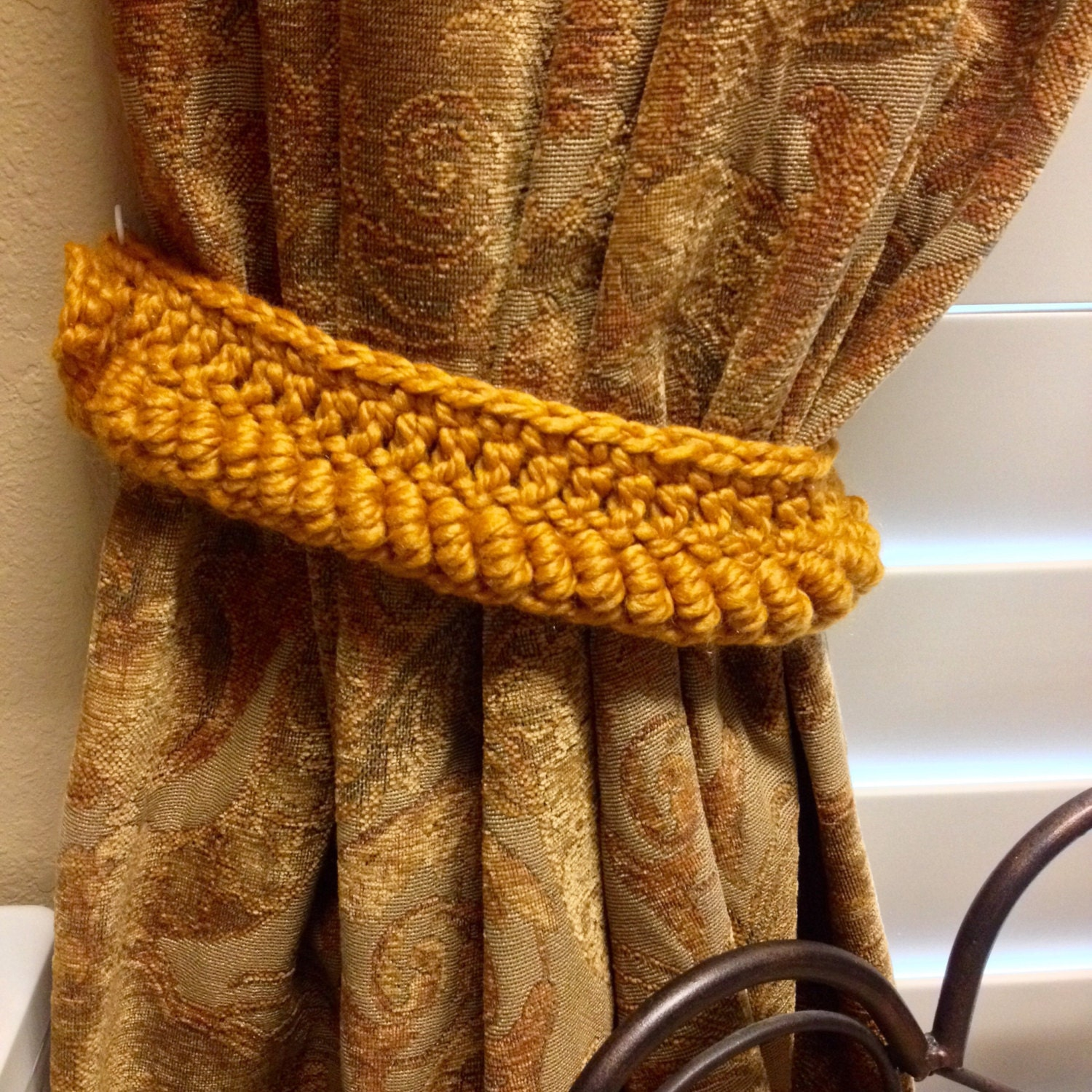 crochet curtain tieback rust color by jinescrafts on etsy