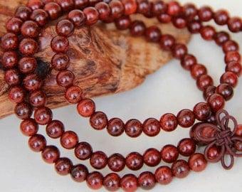 108 India 6mm Natural Pterocarpus santalinus Wooden Beads Meditation Prayer Beads Japa Mala Buddha Necklace