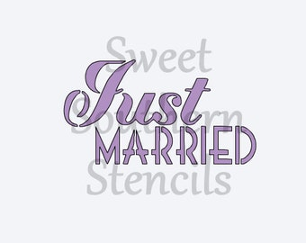 Just Married Cookie Stencil