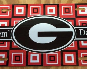 Georgia bulldogs car tag Georgia Bulldogs license plate red black geometric design squares blocks metal car tag university of georgia