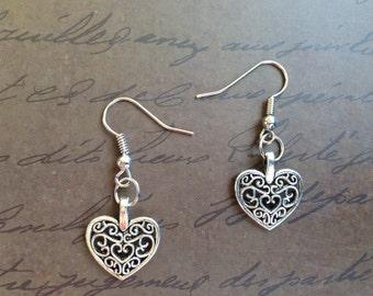 Filigree Heart Earrings - Art Deco Heart Charm Earrings - Heart Earrings