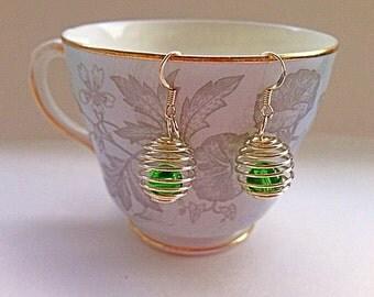 Silver Spring Earrings - Spring Bead Earrings