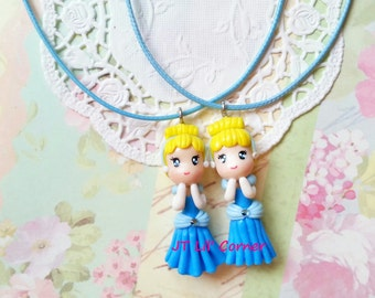 Handmade Cinderella Disney Pendant Necklace Girls Kids Resin Clay Jewelry