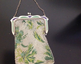 Whiting and Davis Mesh Bag with Leaf Design