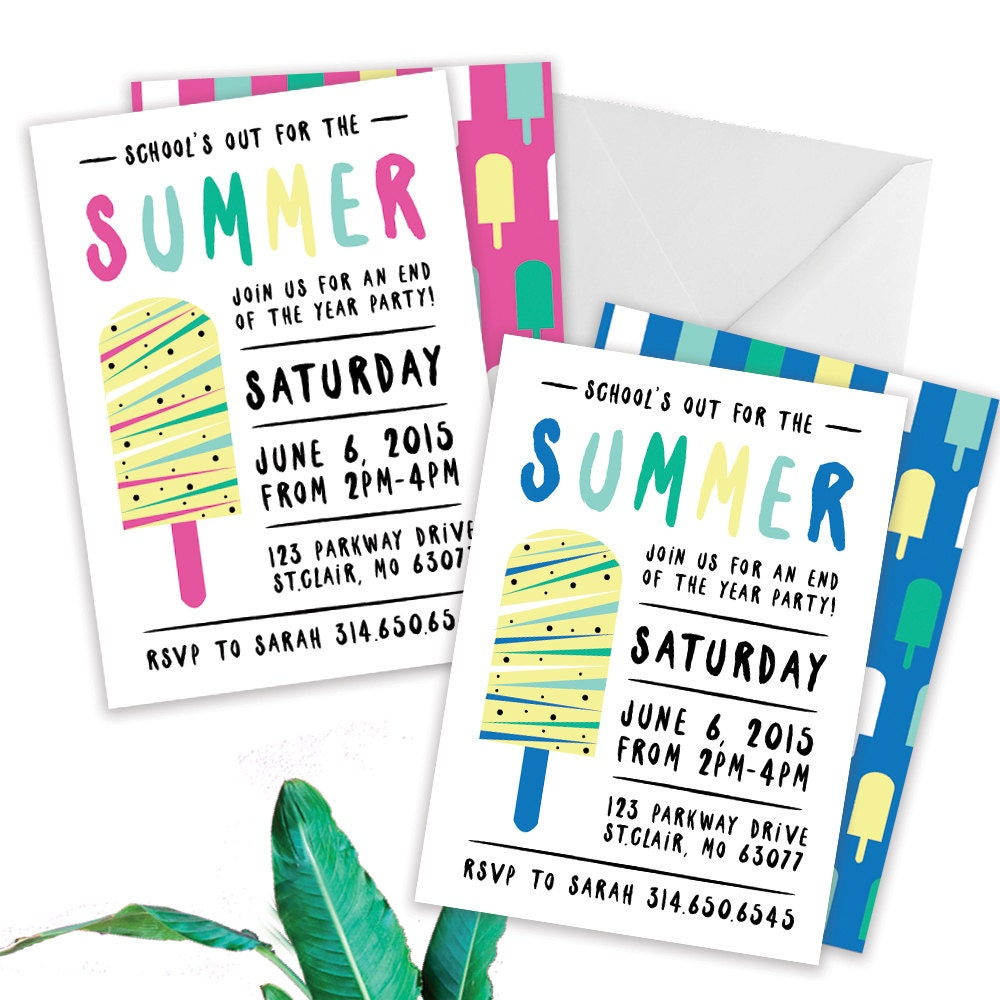 Schools Out Party End of Year Party Invitation Summer – End of Summer Party Invitations
