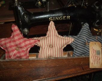 Primitive STARS Three (3) Homespun Bowl Filler Ornies Rustic Folk Art Country, OFG Team