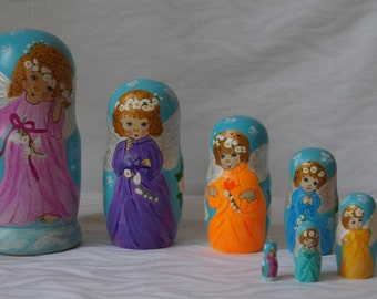 7 pc russian nesting doll Angels matreshka babushka