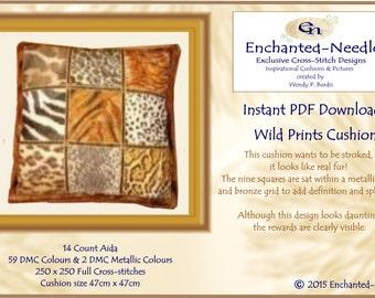 Wild Prints Cross Stitch Cushion Colour PDF Chart // Animal Print Cushion // Cross Stitch Pattern // Instant Download // Cross Stitch PDF