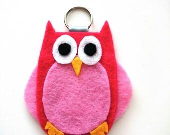 Owl Keyring, Keychain, Bag Charm, Character, Woodland, Felt - Pink