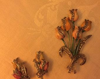 Vintage marcasite and enamel earrings and brooch set