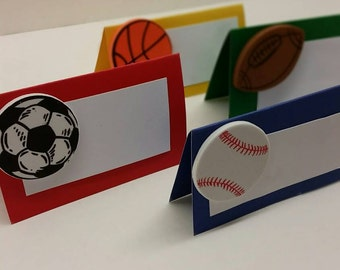 Sports themed food tents sports party supplies sports place card set of 8