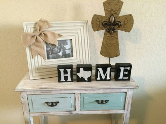 Home Wood Blocks. Texas Home Decor. Wood Letter Blocks