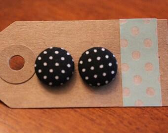 SALE || Black Dots Fabric Button Earrings - Medium