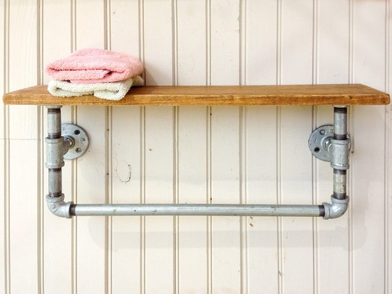 items similar to industrial style 24 wood shelf with cast iron pipe towel bar and hardwood. Black Bedroom Furniture Sets. Home Design Ideas