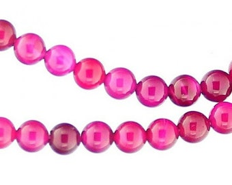 64 beads wire round 6mm 6 mm transparent pink agate