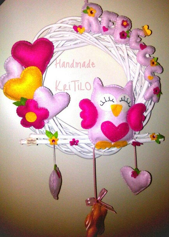 Fiocco nascita gufo su corona con cuori e fiori Personalizzabile