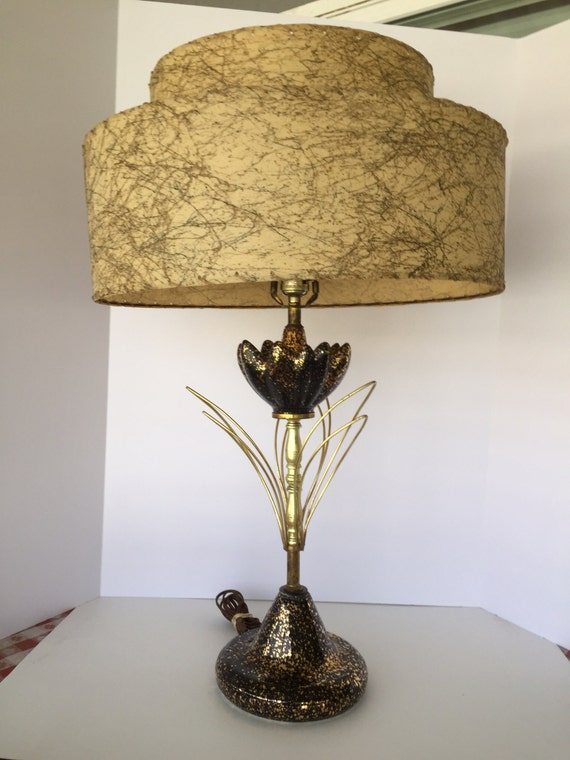 1950s Black And Gold Table Lamp By AuntieVisCloset On Etsy