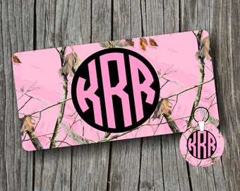 Key Chain and Car Tag/License Plate Pink Camo Monogram