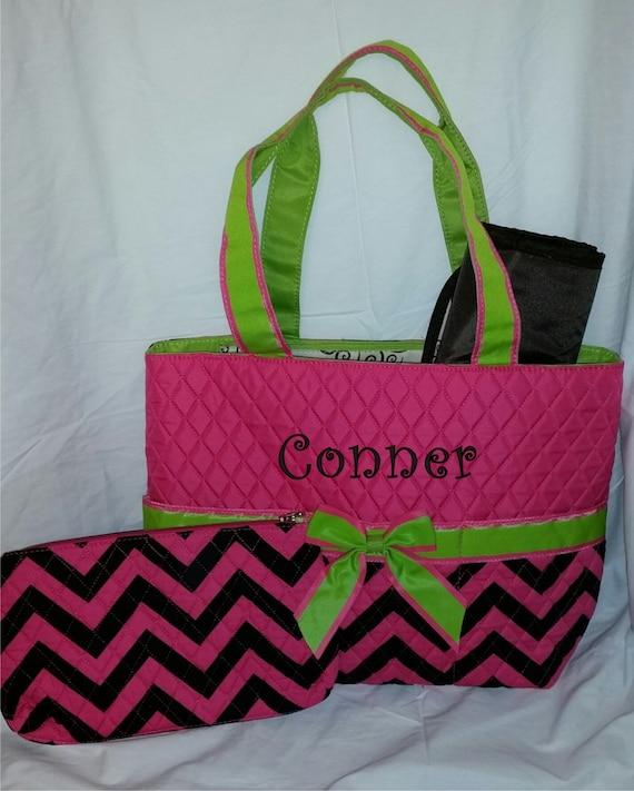 monogram diaper bag quilted pink and black chevron diaper bag. Black Bedroom Furniture Sets. Home Design Ideas