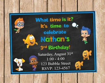 Bubble Guppies Chalkboard Style Invitation
