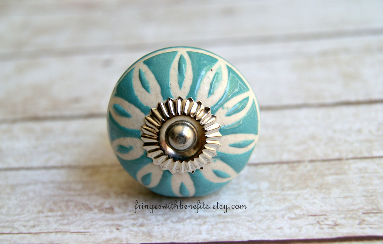 Teal knob turquoise knob ceramic knob blue by for Turquoise door knobs