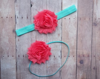 Aqua & Coral Headband! Any Size! Perfect for Summertime!