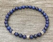Lapis Lazuli Mens Bracelet, Womens bracelet, Lapis Lazuli Bracelet, Natural Gemstone Bracelet, Lapis Men Bracelet, mens beaded bracelet,