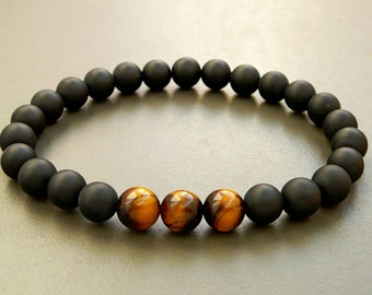 Mens Bracelet, Gift for men, Men's Black Onyx Bracelet, Tiger Eye bracelet, Beaded Bracelet, Bracelet for men, mens onyx bracelet, Mens gift